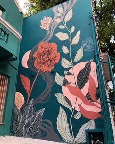Lanó aka Juliana Nersessian & Carolina Barbosa in Brazil, 2019 Mural Floral, Flower Mural, Flower Wall, Mural Wall Art, Mural Painting, Wall Painting Flowers, Graffiti Wall Art, Door Murals, Paintings