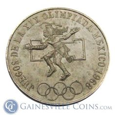 1968 Mexican Silver 25 Pesos Olympics Coin http://www.gainesvillecoins.com/