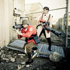 Accurate Team Fortress cosplay. -- Boys can enter the cosplay realm too. It is not just a space for females to dress in skimpy outfits and further the stereotype of girl gamer and where women belong in regards to battle (a sexual object)