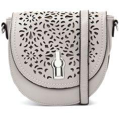 I Love Billy B533-JHA-145 Grey/Silver Cross Body ($69) ❤ liked on Polyvore featuring bags, handbags, shoulder bags, laser cut purse, crossbody shoulder bags, silver cross body purse, faux-leather handbags and grey handbags