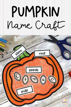 Are you looking for pumpkin themed crafts, lessons, ideas or activities? This pumpkin labeling craft is so much fun for students in Preschool, Kindergarten or First grade. This lesson can also be printed and sent home with studnts who are learning virtually or remotely. This lesson has students labeling the parts of a pumpkin. Students can also practice his/her first name by writing the letters onto the seeds. This craft is great to use during the months of October or November. Kindergarten Science, Preschool Kindergarten, Preschool Crafts, First Grade Crafts, First Grade Science, Parts Of A Pumpkin, Name Crafts, Name Activities, First Grade Classroom
