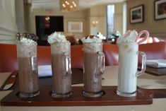 Hot chocolate is a standard winter beverage, and Met Back Bay in Boston serves flight of four mini glasses: the classic hot chocolate with vanilla chocolate, whipped cream, and mini toasted marshmallows; the espresso, served with an almond biscotti garnish; the caramel sea salt, served with whipped cream and caramel drizzle; and the white chocolate peppermint made with white chocolate, vanilla cream, and crushed peppermint stick. Each flavor also is available as a larger, single version as…