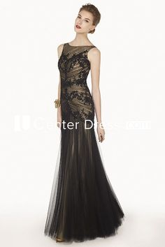 $115.69-Beautiful Bateau Sleeveless Tulle Long Black Mother of the Groom Dress. http://www.ucenterdress.com/bateau-sleeveless-tulle-long-prom-dress-with-appliqued-top-pMK_301347.html.  Tailor Made mother of the groom dress/ mother of the brides dress at #UcenterDress. We offer a amazing collection of 800+ Mother of the Groom dresses so you can look your best on your daughter's or son's special day. Low Prices, Free Shipping. #motherdress