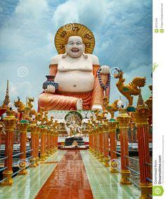 Big laughing Buddha statue. Wat Plai Laem, Koh Samui, Thailand