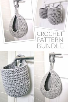 Hanging Crochet Basket Pattern Bundle. These little baskets would be perfect for the bathroom, for hanging little necessities next to the bathtub or where little hands can reach them! #crochetbaskets #crochetdecor #crochetstorage #crochetpattern #craftevangelist Crochet Round, Cute Crochet, Knit Crochet, Crotchet, Crochet Rug Patterns, Crochet Basket Pattern, Crochet Baskets, Crochet Basket Tutorial, Crochet Home Decor