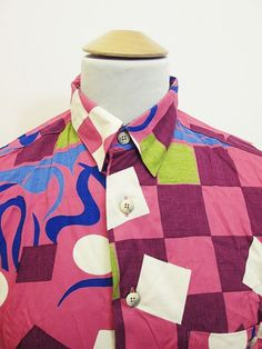 Vintage 90s On Trend Fashion : Geometric Street Style Hip Hop Pattern Shirt M