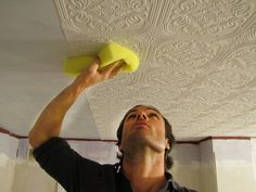 How to wallpaper your ceiling.... Did this and painted metallic gunmetal -bright room- looks like antique tin- love it!