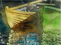 """yellow n green dory nova scotia 16"""" x 22"""" micheal zarowsky watercolour on arches paper / private collection"""