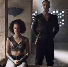"Game of Thrones: Missandei (Nathalie Emmanuel) and Greyworm (Jacob Anderson) season 6 episode 4 ""Book of the Stranger"""