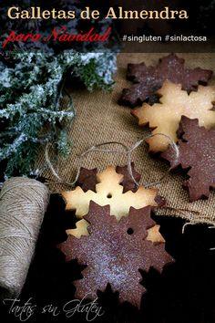 Galletas de Almendra para comer, para regalar o para  colgar del árbol de Navidad. Para que las galletas sean firmes he usado una mezcla de harina  Schär Mix Dolci- Mix C con almendra molida!! #sigluten #sinlactosa #schär