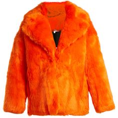 Diane Von Furstenberg Oversized faux-fur jacket (1 960 PLN) ❤ liked on Polyvore featuring outerwear, jackets, faux fur, orange, faux fur jacket, print jacket, orange jacket, loose jacket and diane von furstenberg