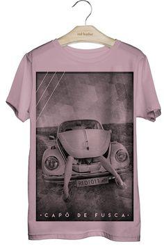 8100271080 Camiseta Masculina Capô de Fusca Rosa