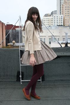 cream cardigan maroon tights white print dress..love these colors