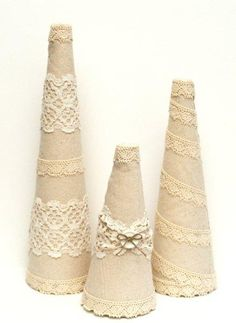 Under The Table and Dreaming: Linen & Lace Topiary Trees featuring Beverly from Flamingo Toes {Handmade Holiday Project No. 11}