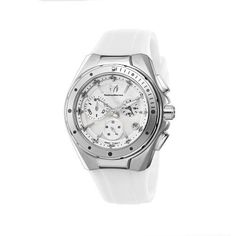 TechnoMarine Unisex 110005 Cruise Steel Chronograph White MOP Dial Watch TechnoMarine. $417.00. Chronograph 40.7 mm silver aluminum bezel. Blue MOP dial. Water-resistant to 660 feet (200 M). White silicone strap. Comes with and extra silicone strap