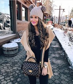 love the louis vuitton bag, double pom pom beanie: Since the century, Louis Vuitton trunks have been. Casual Outfits, Cute Outfits, Fashion Outfits, Womens Fashion, Fashion Trends, Winter Looks, Winter Style, Bonnet Outfit, Fall Winter Outfits