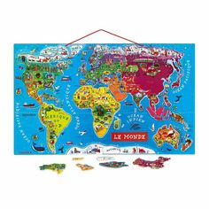 A magnificent wooden world map that assists in geographical learning. Made from wood, this huge 92 piece puzzle has a base board with corresponding country names to match the magnetic pieces depicting typical images from that country. World Map Puzzle, Kids World Map, Toddler Gifts, Gifts For Kids, Puzzles, Kids Part, Maps For Kids, Floor Puzzle, Mappa Mundi