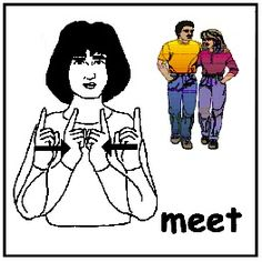 """sign: MEET for """"meet Sandy"""" it's a great article about using ASL with DS"""