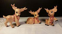 Ceramic Painted Reindeer Figurines Vintage Hand Painted Reindeer Set of 3 Reindeer with Bell Harness Christmas Holiday Reindeer Decoration