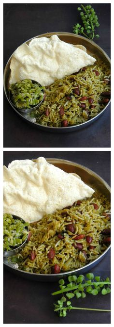 Palak Rajma Pulao/Vegan Spinach Kidney Beans Pulao