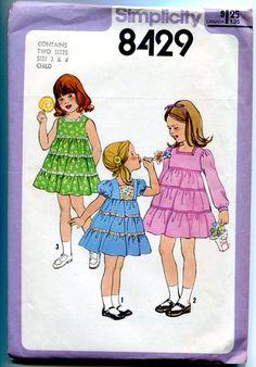 1970s Girls Tiered Dress Pattern High Waist by allsfairyvintage