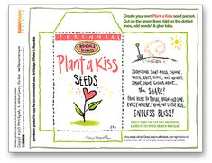 Plant a Kiss Seed Packets for the book PLANT A KISS by Amy Krouse Rosenthal and Peter H. Reynolds