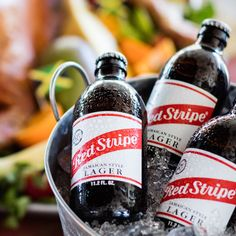 RED STRIPE BEER BUCKETS || The original island brew, ice cold and ready to party. Five bottles included in each bucket.