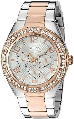 GUESS Womens U0729L4 Sporty SilverTone Stainless Steel with Multifunction Dial and 2Tone Pilot Buckle Quartz Casual Watch *** Be sure to check out this awesome product.Note:It is affiliate link to Amazon.