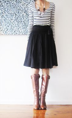 A-line skirt, striped T and brown boots. Fab.