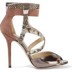 Jimmy Choo Freesia Say suede, elaphe and metallic leather sandals ($355) ❤ liked on Polyvore featuring shoes, sandals, neutral, metallic shoes, metallic sandals, high heel shoes, multi colored high heel sandals and multi color high heel sandals