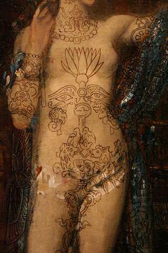 """détail de Salomé dansant devant Hérode, dite """"Salomé tatouée"""" huile sur toile de Gustave Moreau, 1876"""