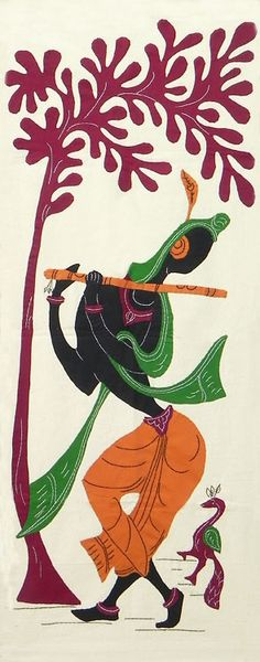 Lord Krishna - (Wall Hanging) (Applique Work on Cotton Cloth)
