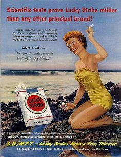 Lucky Strike ad  Merle Travis song: So round, so firm, so fully packed, that's my gal  So complete, front to back, that's my pal  Toasted by the sun and I'm a son of a gun  She don't make my five o'clock shadow come around at one.