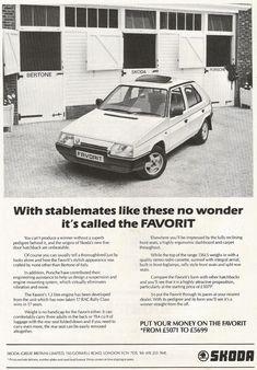 1990 SKODA FAVORIT ADVERT Car Advertising, Cars Motorcycles, Cali, Porsche, Posters, Retro, Nice, Poster, Rustic
