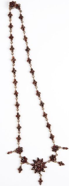 """Antique Victorian Bohemian Garnet (Pyrope Garnets From Czechoslovakia) Necklace Set In A Base Metal, Sometimes Referred To As """"Garnet Gold""""   c.1880's  -  Ruby Lane"""