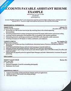 accounts payable resume is used to apply a job as account payable administrator people with - Account Payable Resume