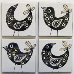 Black and Gold Bird handpainted tile art