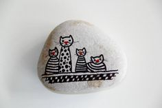 """cats"" ~ pebbles from Portugal, hand painted by Sabine Ostermann"