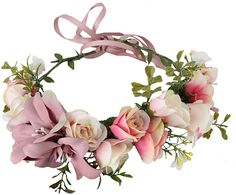Vivivalue Lily Flower Wreath Headband Floral Crown Garland Boho for Festival Wedding Pink -- Learn more by visiting the image link. (This is an affiliate link) Baby Flower Crown, Flower Crown Wedding, Bridal Flowers, Floral Crown, Flowers In Hair, Floral Wedding, Ribbon Wedding, Garland Wedding, Floral Hair