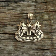 This Viking ship pendant is inspired by a 10thcenturybrooch that was foundon the Island of Bornholm in Denmark. Fashioned out of bronze, it measures circa 20