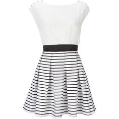 Black And White Nautical Dress (€23) ❤ liked on Polyvore featuring dresses, vestidos, robes, short dresses, black and white dress, mini dress, black white mini dress and black and white skater dress