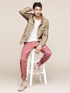 Khaki Field Jacket, White Tee, Brick Chinos, and Tan Chukka Boots. Men's Spring Summer Fashion.