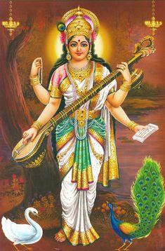 Goddess Saraswati devi Saraswati: Goddess of Knowledge & Arts Lord Saraswati, Saraswati Photo, Saraswati Mata, Saraswati Goddess, Durga Maa, Kali Goddess, Goddess Art, Lord Vishnu, Durga Images