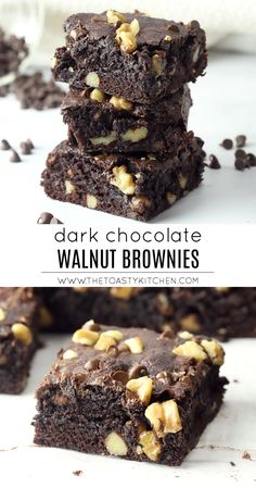 Dark Chocolate Walnut Brownies are a classic homemade dessert. These rich, dark chocolate brownies are filled with crunchy walnuts. Healthy Chocolate Snacks, Dark Chocolate Recipes, Chocolate Walnut Recipe, Dark Chocolate Brownies, Healthy Snacks, Walnut Brownie Recipe, Brownie Recipes, Pudding Recipes, Cookie Recipes