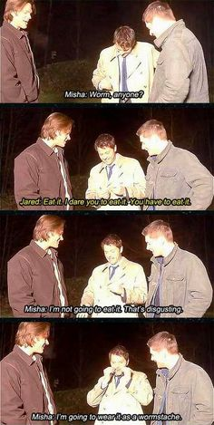 Hurray for Supernatural bloopers! This one is my favorite, I think. #Wormstache #Funny