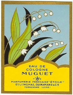 Eau de Cologne Lily of the Valley, Muguet old vintage label circa 1948, perfume