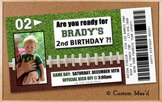 Football Ticket Birthday Invitations by www.customaed.com ~ shop on Etsy.  Revised link offers prints with custom 'ticket' size envelopes!