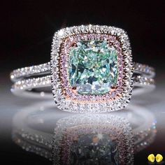 NDNEN New Square Blue Stone Ring Trendy Pink Crystal Jewelry Ring For Women Wedding/Engagement/Party/Birthday Ring Engagement Jewelry, Engagement Ring Settings, Aquamarine Engagement Rings, Wedding Engagement, Wedding Jewelry, Morganite Engagement, Morganite Ring, Aquamarin Ring, Or Violet