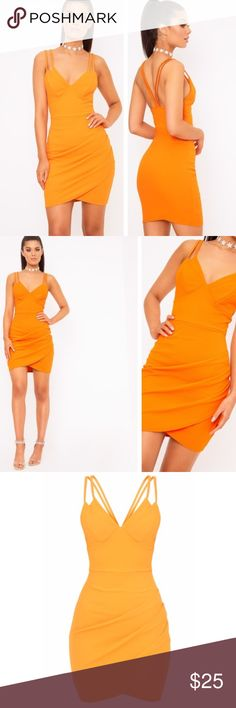 ❗️ONE HOUR SALE - orange bodycon dress Brand new with tags pretty little thing Dresses