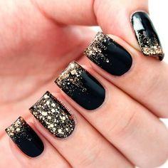 cute black nail designs gold nails, blue, nail art designs, toe nail designs, nail arts, black nails, beauti, black gold, beauty
